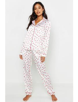 Ditsy Heart Satin Pj Set by Boohoo