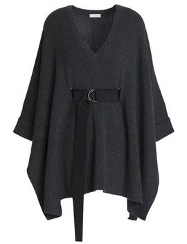 Belted Ribbed Cashmere Poncho by Brunello Cucinelli