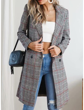 Red Plaid Lapel Pocket Detail Long Sleeve Women Coat by Choies