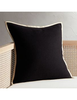 """20"""" Delaney Black Linen Pillow With Down Alternative Insert by Crate&Barrel"""