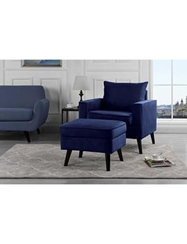 Mid Century Brush Microfiber Modern Living Room Large Accent Chair With Footrest/Storage Ottoman (Navy) by Sofamania