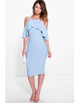 Dalila Cold Shoulder Frill Detail Midi Dress by Boohoo