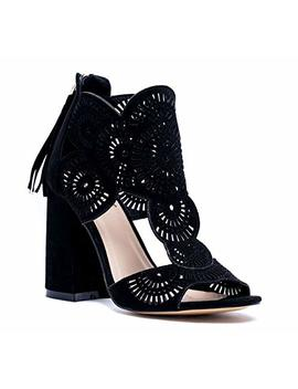Gc Shoes Women's Halle Perforated Cut Out Detail Block Heeled Suede Dress Sandals by Gc Shoes