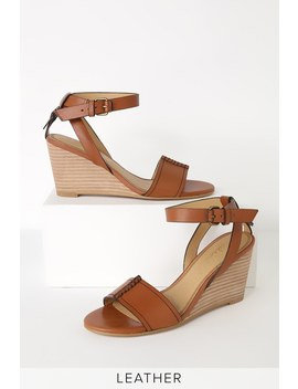 Tadeo Brique Tan Leather Wedge Sandals by Splendid