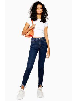 Indigo Jagged Hem Jamie Jeans by Topshop