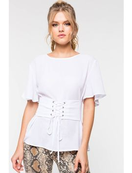 Cinched Short Sleeve Blouse by A'gaci