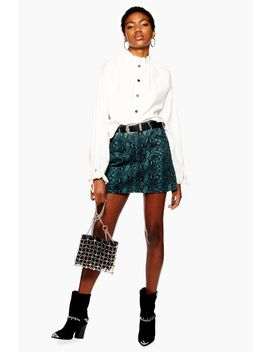 Tall Teal Snake Print Denim Skirt by Topshop
