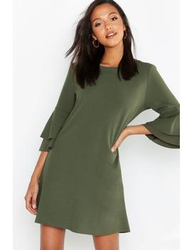 Volume Sleeve Stretch Shift Dress by Boohoo