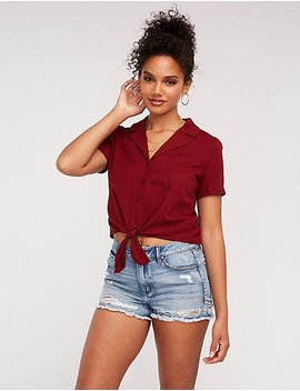 Linen Tie Front Button Up Top by Charlotte Russe