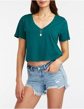 V Neck Crop Boyfriend Tee by Charlotte Russe