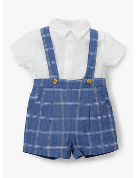 John Lewis & Partners Heirloom Collection Linen Check Print Bibshort And Shirt Set, Blue by John Lewis &Amp; Partners Heirloom Collection