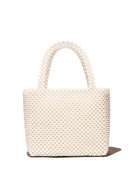 Samira Faux Pearl Beaded Tote   100 Percents Exclusive by Aqua
