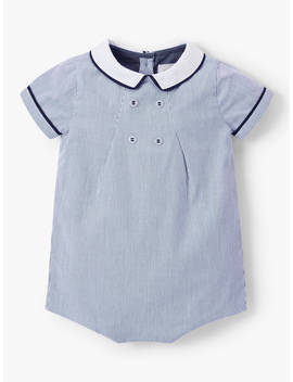 John Lewis & Partners Heirloom Collection Baby Textured Stripe Romper, Blue by John Lewis & Partners Heirloom Collection