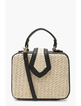 Premium Structured Straw Box Cross Body by Boohoo