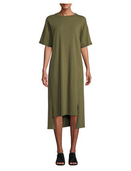 Eileen Fisher Short Sleeve Stretch Jersey High Low Dress  by Eileen Fisher