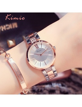Kimio Simple Thin Rhinestone Rose Gold Quartz Watches Women Fashion 2018 Ladies Watch Women's Watches Dress Wristwatch For Women by Kimio