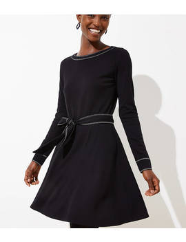 Topstitched Tie Waist Flare Dress by Loft