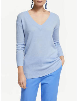 John Lewis & Partners Relaxed V Neck Cashmere Jumper, Pale Blue by John Lewis & Partners