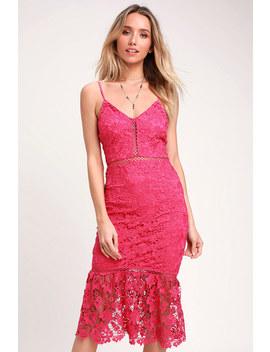 Taliah Hot Pink Lace Midi Dress by Lulus