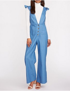 Chambray Plunge V Neck Jumpsuit by Charlotte Russe