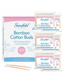 Bamboo Cotton Buds 6pk (6 X 100) By Snowfield   100 Percents Biodegradable Cotton Buds   Free Ebook With Helpful Hints And Tips by Snowfield