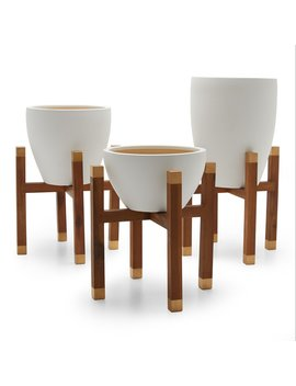 Mo Drn Scandinavian Earthenware Planter With Wood Stand by Mo Drn