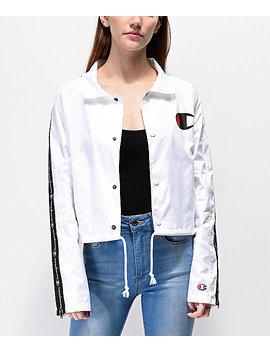 Champion Zip Tape White Crop Coaches Jacket by Champion