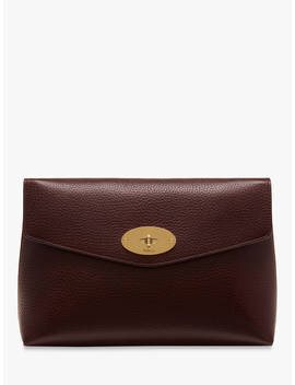 Mulberry Darley Grain Veg Tanned Leather Large Cosmetic Pouch, Oxblood by Mulberry