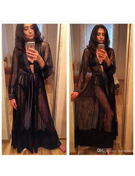 Lady Women's Lace Sexy Lingerie Nightdress Sleepwear Bathrobes Long Gown Kimono Mesh Sheer See Through Robe Nightwear by Thefound