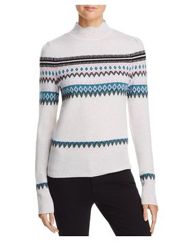 Scalloped Fair Isle Cashmere Sweater   100 Percents Exclusive by Aqua Cashmere