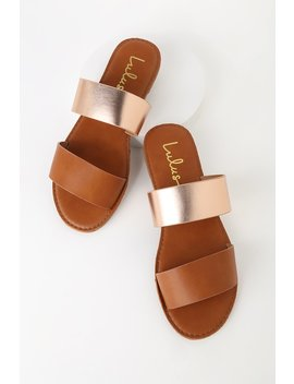 Time To Chill Tan And Rose Gold Slide Sandals by Lulus