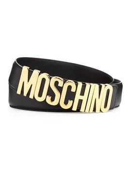 Large Logo Adjustable Leather Belt, Black/Gold by Neiman Marcus