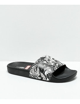 Vans X Marvel Black & White Slide Sandals by Vans