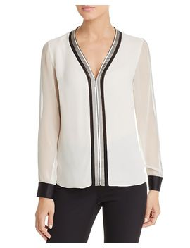 Vallie Zip Front Silk Blouse by Elie Tahari
