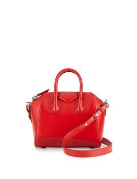 Antigona Mini Calf Leather Satchel Bag, Red by Neiman Marcus