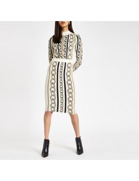 Cream Chain Print Turtle Neck Top by River Island
