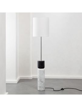Stacked Grey And White Marble Floor Lamp by Crate&Barrel