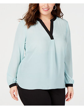 I.N.C. Plus Size Colorblocked Top, Created For Macy's by Inc International Concepts