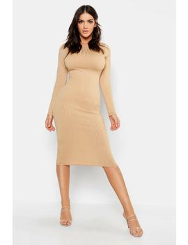 Jumbo Rib Slash Neck Midi Dress by Boohoo