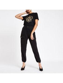 Black Ri Crown Foil Print T Shirt by River Island