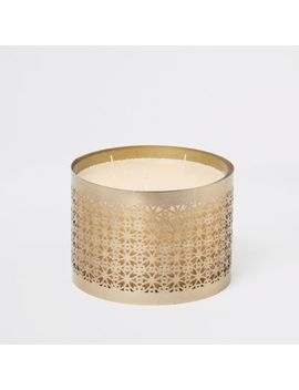 Gold 3 Wick Large Caged Candle by River Island