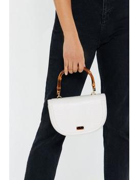 Croc Semi Circle Structured Bamboo Handle Bag by Nasty Gal