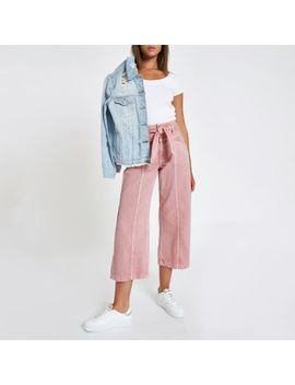 Pink Belted Denim Culottes by River Island