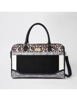 White Mixed Animal Print Weekend Bag by River Island