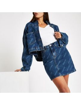 Blue 'Couture' Print Denim Mini Skirt by River Island