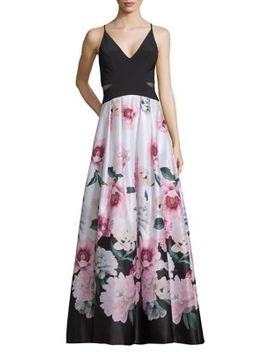 Floral Sleeveless Gown by Xscape