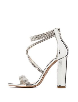 Crystal Silver Block Sandals by Charlotte Russe