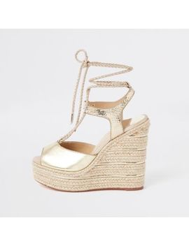 Gold Metallic Rope Tie Up Espadrille Wedges by River Island