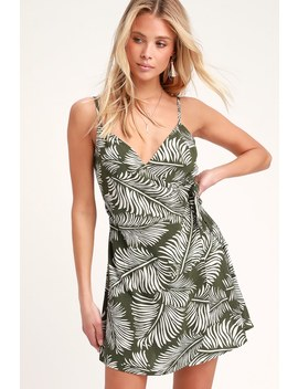 Emelina Dark Green Leaf Print Wrap Dress by Amuse Society