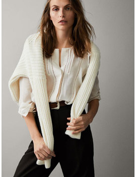Lace Trimmed Silk Blouse by Massimo Dutti